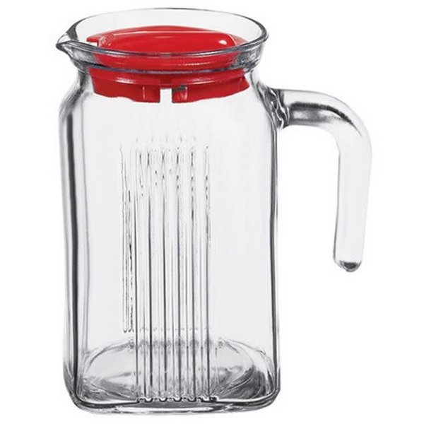 Pasabahce Square jar with red lid 600ml