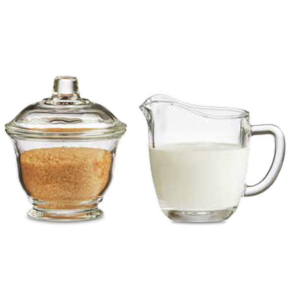 "Mann  ""Barista"" Glass creamer and sugar bowl"