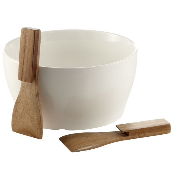 Acacia Salad bowl with cutlery, 24cm, porcelain, set of 3 pcs
