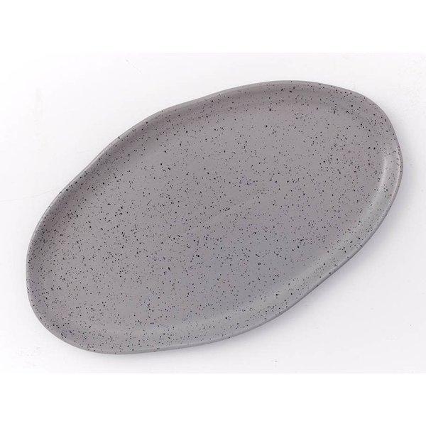 """plat de service ovale 38 cm Gris """"Sesame"""" de Mann"""