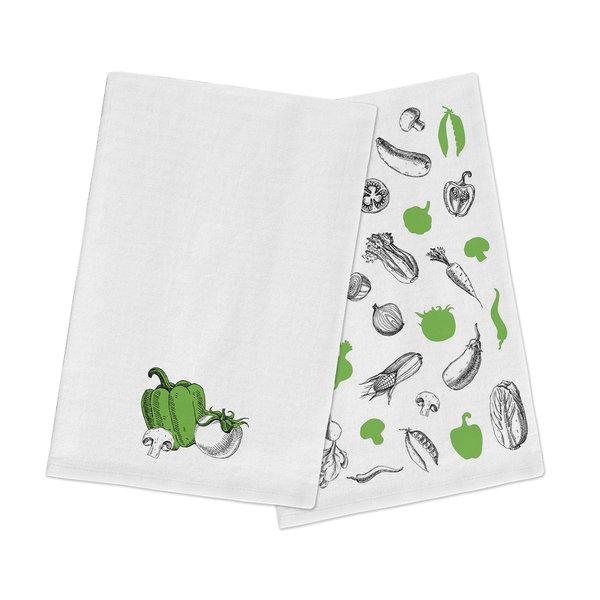 """FLOUR SACK Dish towels """"Vegetables"""" 51x71cm, SET OF 2"""