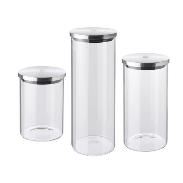 ZWILLING STORAGE 3 PIECE GLASS STORAGE JARS, S,M,L
