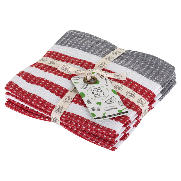 Dish towel 100% cotton, 36 x 36cm, set of 4, red