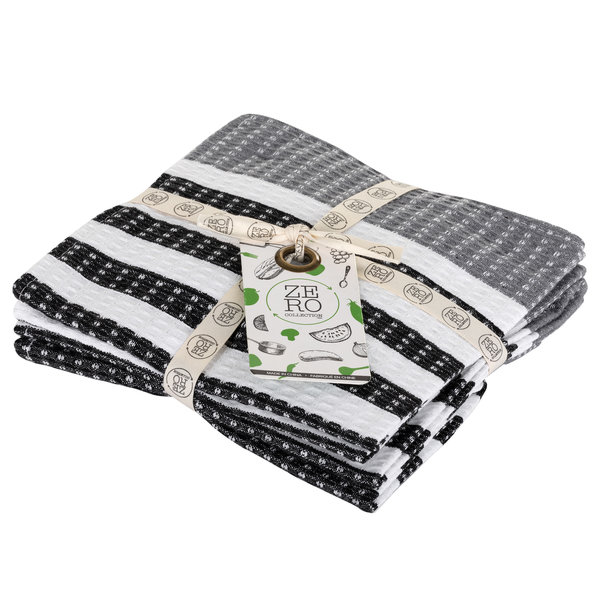 Dish towel 100% cotton, 36 x 36cm, set of 4, black