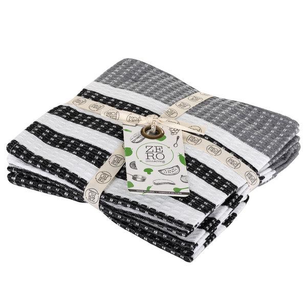 Lavettes en 100% coton 36 x 36cm, noir, ensemble de 4