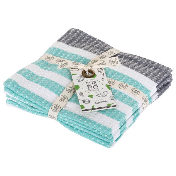 Dish towel 100% cotton, 36 x 36cm, set of 4, aqua