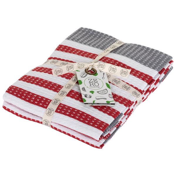 Serviettes de cuisine en 100% coton 51x71cm, Rouge, ensemble de 2