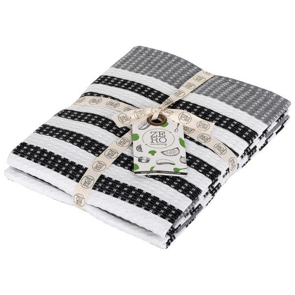 Serviettes de cuisine en 100% coton 51x71cm, noir, ensemble de 2