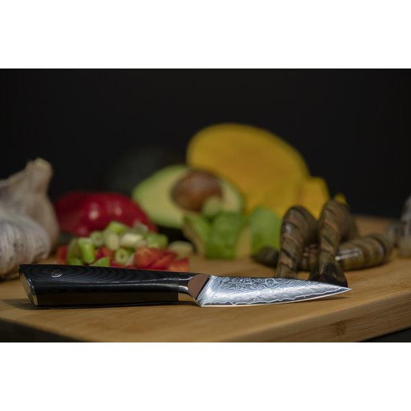 Couteau d'office 67 couches 9cm en acier damassé de Senshi