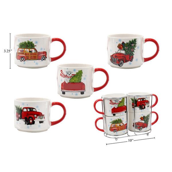 Santa Secrets 14oz Stackable Xmas Truck Mugs, Set of 4