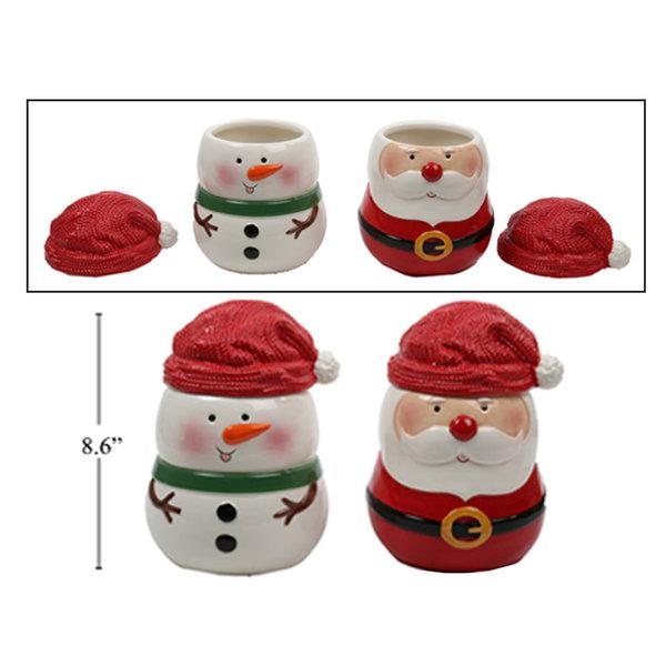 Pot a biscuits de Noël en ceramique avec couvercle