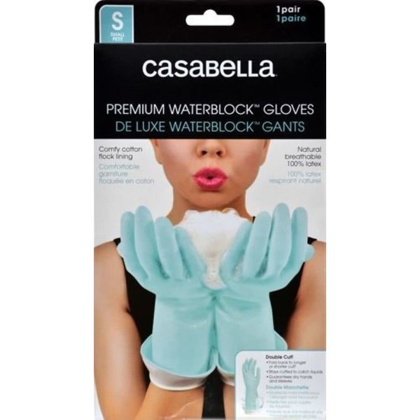 Casabella Waterblock Latex Gloves, Aqua