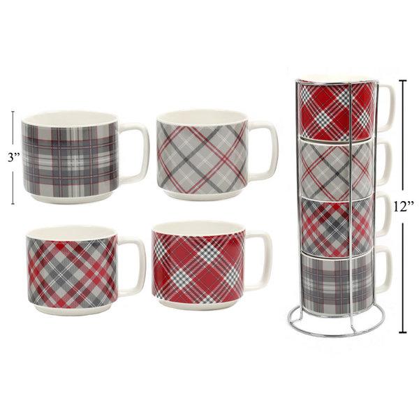 Tasses 10oz ens/4 avec support motif écossais