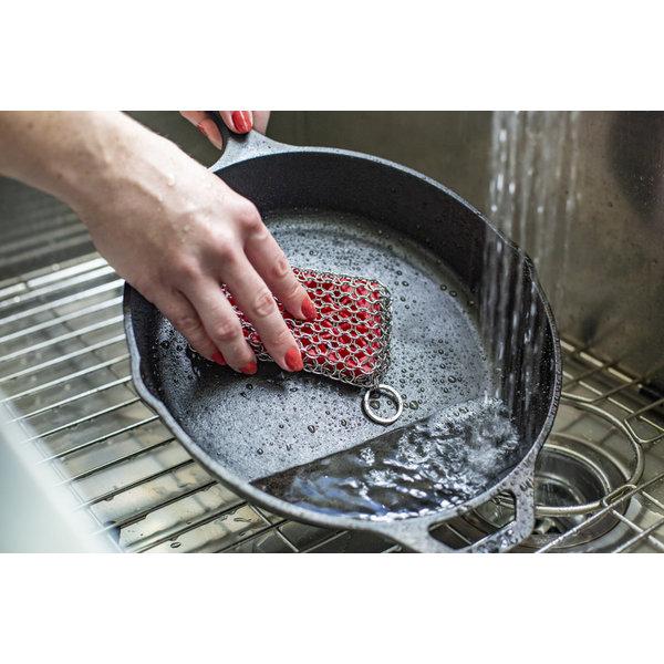 Tampon à récurer en silicone et cotte de mailles, rouge de Lodge