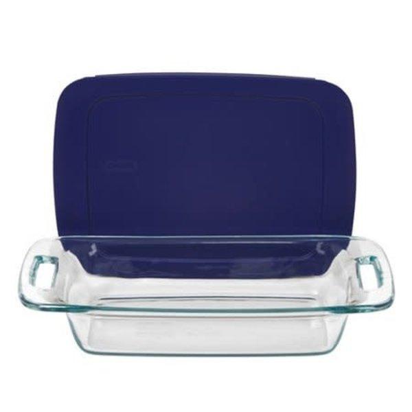 """Plat de cuisson rectangulaire 2L """"Easy Grab"""" avec couvercle bleu de Pyrex"""