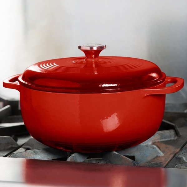 Lodge 6 Quart Red Enameled Cast Iron Dutch Oven