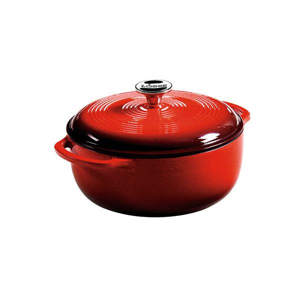 Lodge 4.5 Quart Red Enameled Cast Iron Dutch Oven