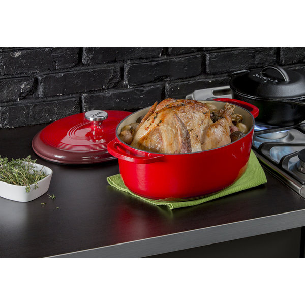 Lodge 7 Quart Oval Red Enameled Cast Iron Dutch Oven