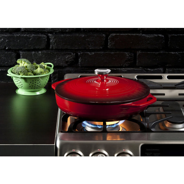 Lodge 3.6 Quart Red Enameled Cast Iron Covered Casserole