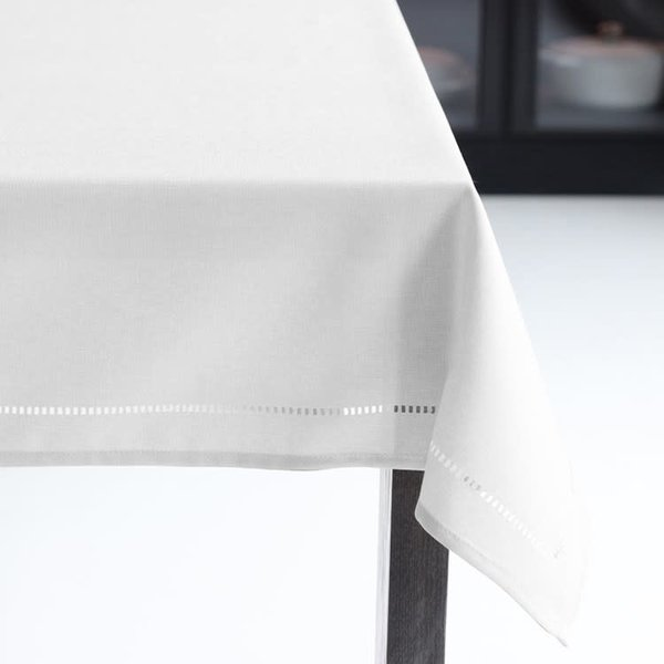 """Harman Linen Look Tablecloth 70"""", round, White"""