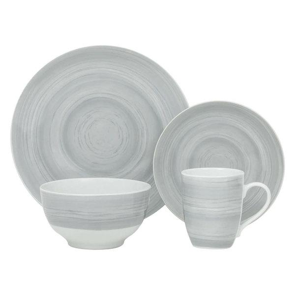 "H2K 16pc ""Grey Stone"" Porcelain Dinnerware Set"