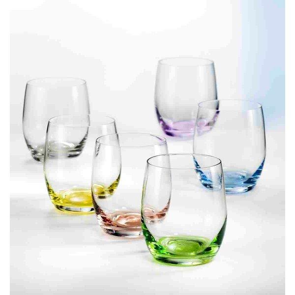 """Ensemble de 6 verres à vin sans pied """"Arc-en-ciel"""" par David Shaw"""