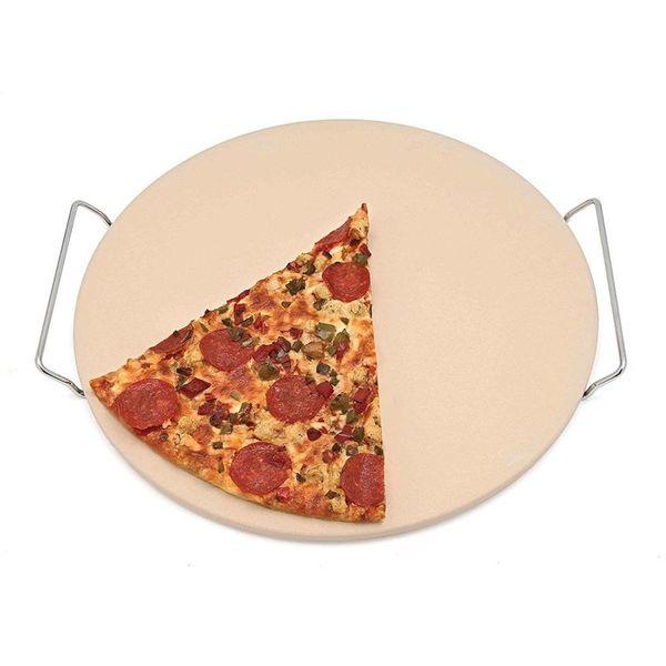 Pierre à pizza ronde avec support.