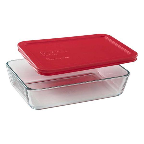 """Plat rectangulaire 720 ml avec couvercle rouge """"Simply Store"""" de Pyrex"""