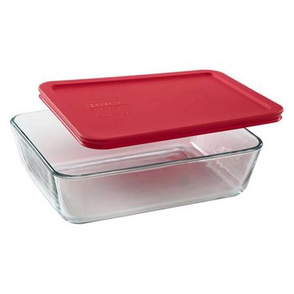 Pyrex Simply Store 1.44L Rectangular Dish with Red Lid