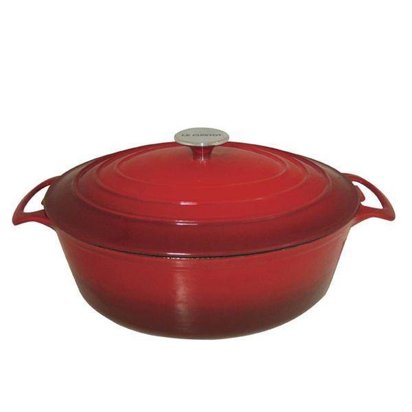 Le Cuistot Enameled Cast Iron Oval Dutch 8 l Red 2 Tone