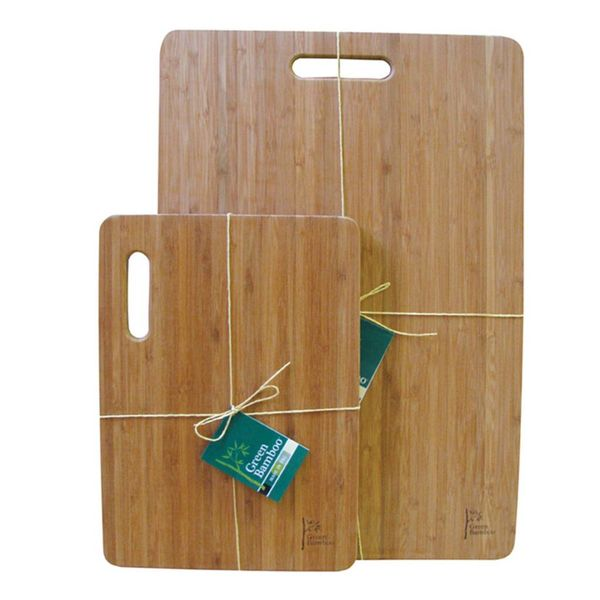 Green Bamboo Cutting Board with Handle 33cm x 23 cm
