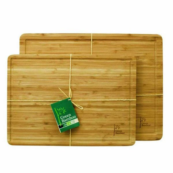 Green Bamboo Cutting Board with Groove 35 cm x 25 cm