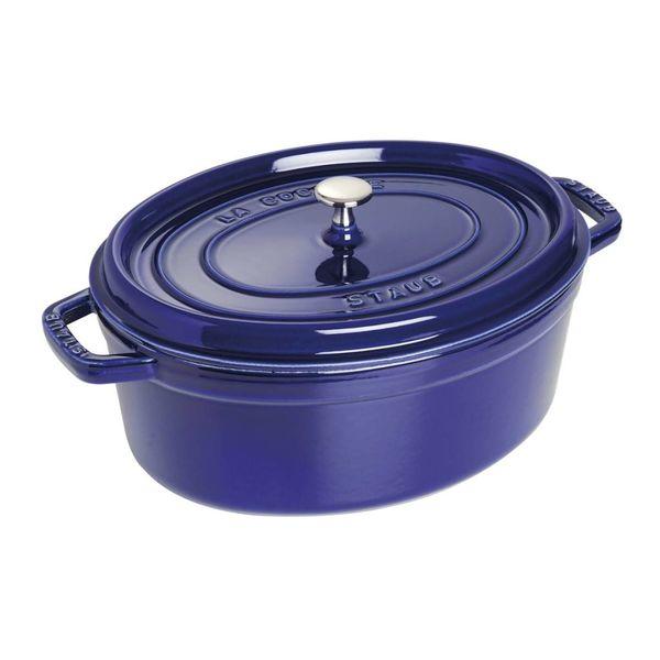 Cocotte Ovale Staub 5.5 L / Fonte /  Bleu foncé