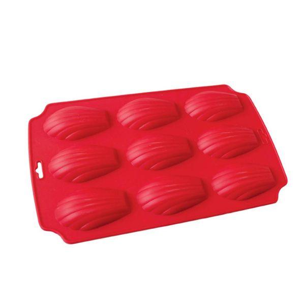 Moule à madelaines en silicone de La Pâtisserie 29 cm x 18 cm / Silicone / Rouge