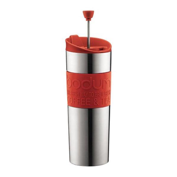 Tasse de voyage rouge à piston de Bodum