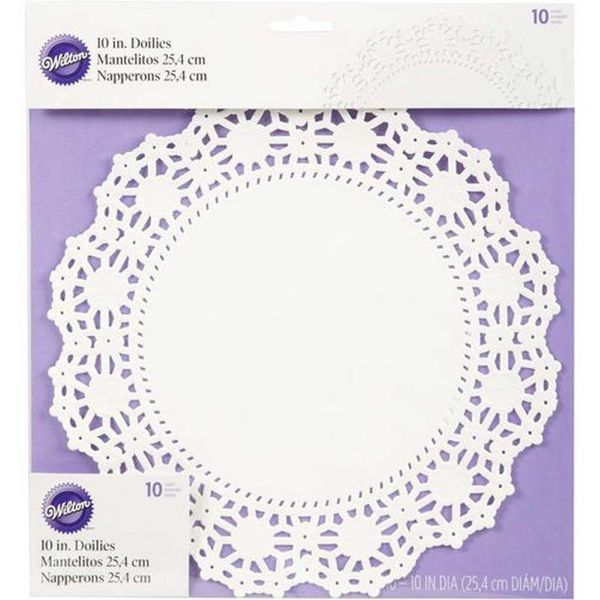 Wilton 25.4cm Round Grease-Proof White Doilies