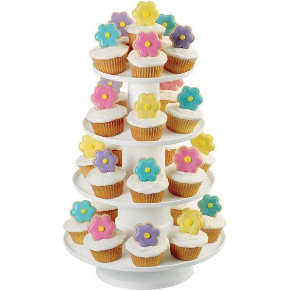 Tour à cupcakes et à desserts à 4-étages empilés de Wilton