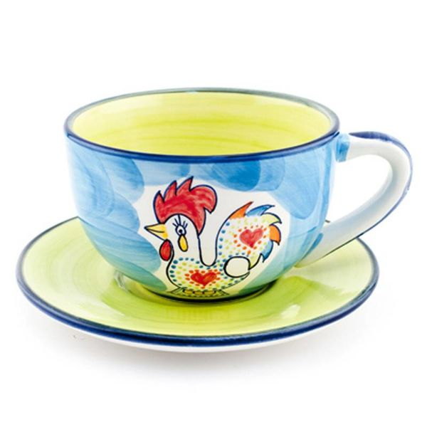 Portugal Imports Joyful Rooster Cup and Saucer