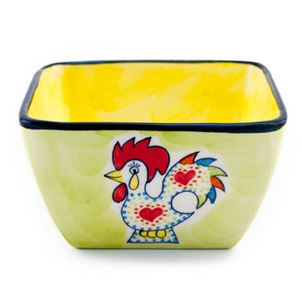 Portugal Imports Joyful Rooster Square Cereal Bowl