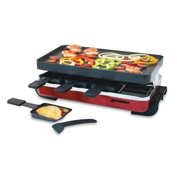 Swissmar 8 Person Classic Raclette Party Grill With Reversible Aluminum Non-Stick Grill Plate
