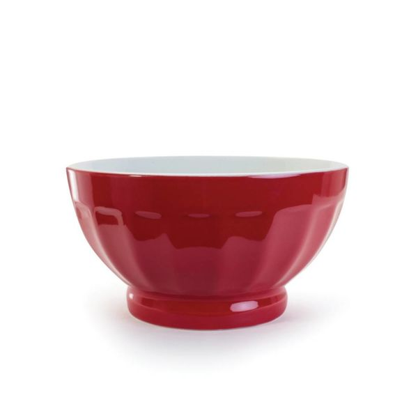TWO-TONE FLUTED BOWL,16 OZ RED