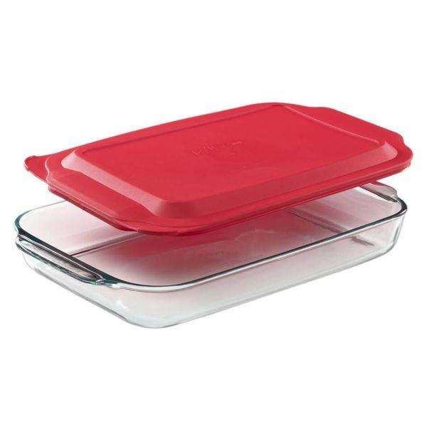 Moule à cuisson rectangulaire 4.5L avec son couvercle rouge de Pyrex
