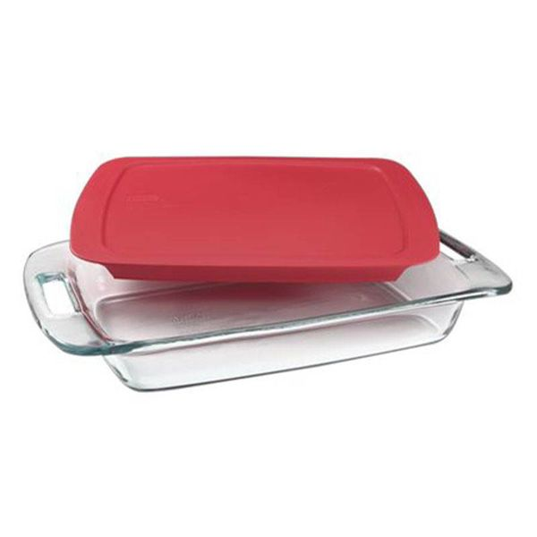 Pyrex Easy Grab 3-qt Oblong Baking Dish w/Red Lid