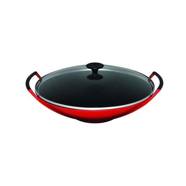 Le Creuset Wok with Glass Lid Cherry