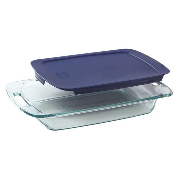 Pyrex Easy Grab 3-qt Oblong Baking Dish w/Blue Lid