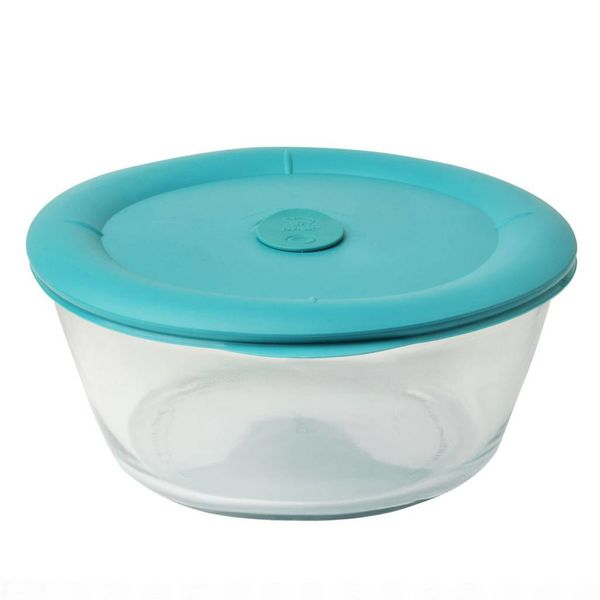 Pyrex Pro 3-qt Oval Storage Dish w/ Turquoise Vented Lid