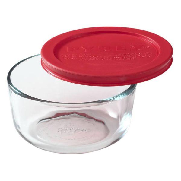 """Plat rond en verre 2-tasses """"Simply Store"""" avec son couvercle rouge de Pyrex"""
