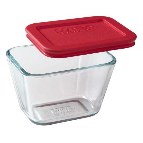 """Plat rectangulaire 1.875 tasses """"Simply Store"""" avec son couvercle rouge de Pyrex"""