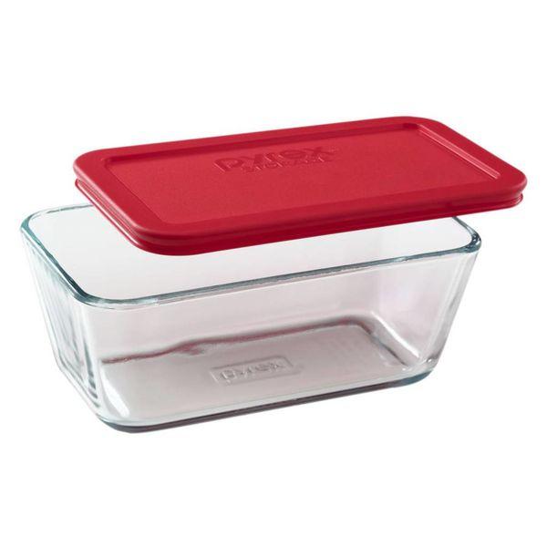 """Plat rectangulaire 4.75 tasses """"Simply Store"""" avec son couvercle rouge de Pyrex"""