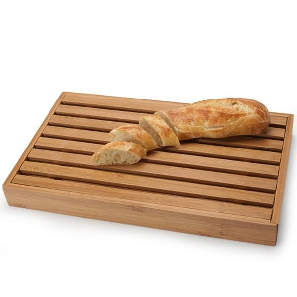 Natural Living Bamboo Bread Board with crumb catcher